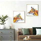 N / A Pintura al óleo Carteles e Impresiones de Animales Modernos Pintura Abstracta de Lienzo de Zorro Sala de Estar Arte de la Pared Imágenes Decoración para el hogar Sin Marco 20x20 cm