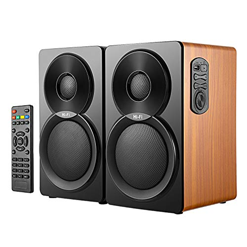 "2.0 Altavoces HiFi estantería,Altavoces pc (autoamplificados con 46W de Potencia, Madera, woofer de 5"", 1 Tweeter, 3.5 mm, RCA,USB IN) Bluetooth Altavoces autoamplificados"