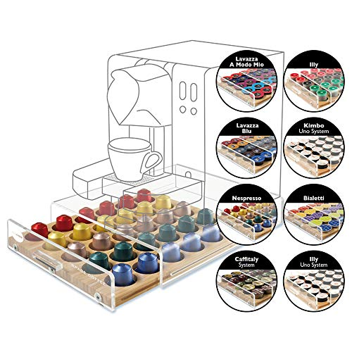 MACOM Just Kitchen 835 Space Coffee Dispenser Portacapsule Universale per Macchine Caffè, 30 capsule, cassetto in legno