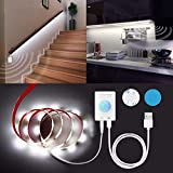 Motion Activated LED Light Strip - Rechargeable Under Cabinet Light Strip with Motion Activation Sensor, Flexible LED Strip for Bedroom, Wardrobe, Cabinet, Stairway (1 Count 6.56ft 6000K)
