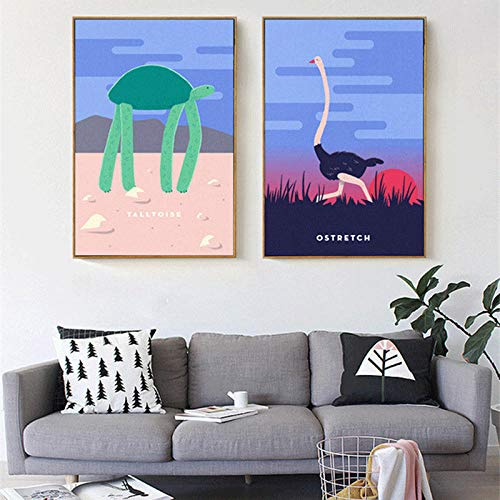 Nordic abstracte cartoon schildpad struisvogel canvas schilderij muurschildering poster foto woonkamer cafe decoratie 40x60cmx2