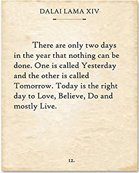 Dalai Lama - There Are Only Two Days - 11x14 Unframed Typography Book Page Print - Great School Office or Home Decor and Motivational/Inspirational Gift Under $15