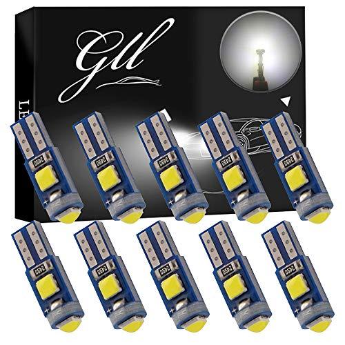 GLL 10pcs Bombillas LED T5 Blanco 3030 3SMD w1.2w w3w Bombillas Para el Salpicadero del Coche Luces de 120 Lúmenes
