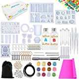 XEVFITN Epoxy Resin Molds Jewelry Making Kit, Silicone Casting Molds For Keychain Pendant Crafts Bracelet Making Set Contains Silicone Molds, Epoxy Resin, Silicone Sheet, Glitter Sequins and Tools Set