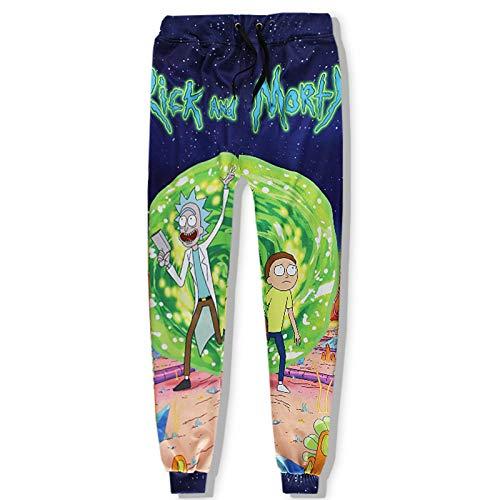 GQFGYYL-QD Rick and Morty Pantalones Deportivos para Hombre Pantalones Casuales Acogedores Pantalones de Moda de Anime 3D con Cordón y Dos Bolsillos Laterales,2,XXL
