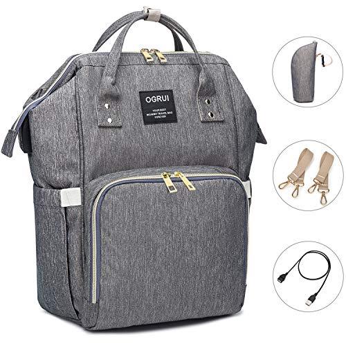 Bolso cambiador de pa/ñales para beb/é gris cl/ásico gran espacio de almacenamiento para todos los accesorios de beb/é 12 bolsillos bolsa de viaje con correas para el cochecito