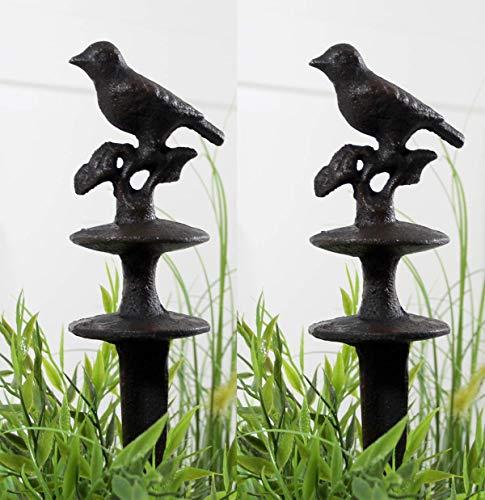 LB H&F 2 Stück Schlauchhalter Gusseisen Vogel Set Schlauchführung Braun 31 cm Gross Garten Gartendeko - Massive schwere Qualität