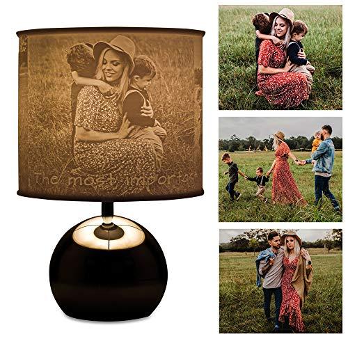 Foto-Lampe mit personalisierten Lampenschirm und Touch Funktion sowie drei dimmbaren Helligkeitsstufen | Personalisierte Geschenkidee, Fotogeschenke , Individuell mit 3 Bildern selbst gestalten