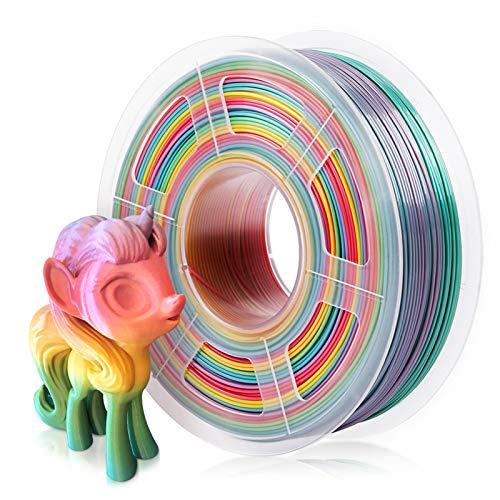 Filamento PLA 1.75mm Color Arcoiris, SUNLU Multicolor PLA Filamento para Impresora 3D, Precisión Dimensional +/- 0.02 mm, 1kg Spool, PLA Rainbow