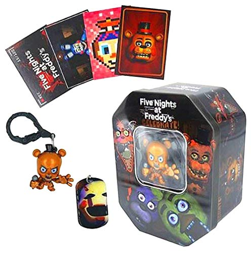 Five Nights at Freddy's Collectable Dog Tag Trading Card and Key Chain Tin Set