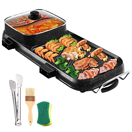 CLORIS Hot Pot with Grill 2 IN 1, Smokeless Grill and Shabu Shabu Hot Pot Electric Multifunctional Indoor Teppanyaki Grill Non-Stick Pan for Korean BBQ Grill, Steaks, Family Gathering, Party Indoor/Outdoor