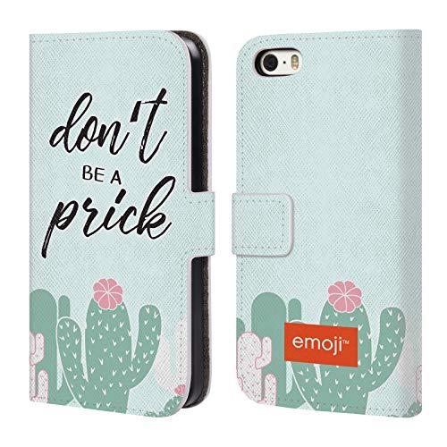 Head Case Designs Oficial Emoji No Seas un imbécil Cactus Y Piña Carcasa de Cuero Tipo Libro Compatible con Apple iPhone 5 / iPhone 5s / iPhone SE 2016