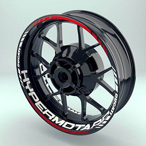 Felgenaufkleber Set Ducati Hypermotard für Motorrad   17 Zoll   Felgenrandaufkleber & Felgenbettaufkleber   Vorder- & Hinterreifen Komplett-Set (Einfach - glänzend)