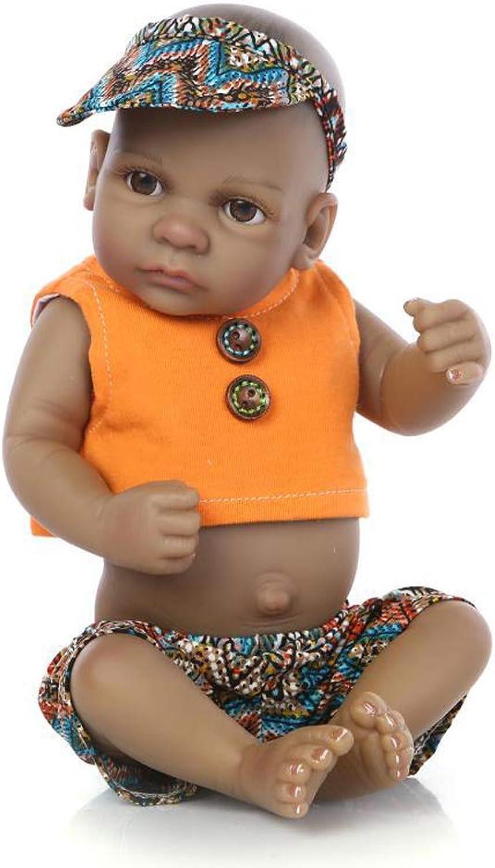 IIWOJ Cute Mini Doll 27Cm Black Skin Silicone Doll Baby Enlightenment Sleeping Doll,Boy