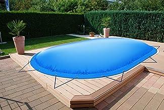 ! (Professionele kwaliteit) Ovaal opblaasbaar zwembadzeil zwembad afdekkingen van vrachtwagenzeil (11 m x 5,5 m, beige)
