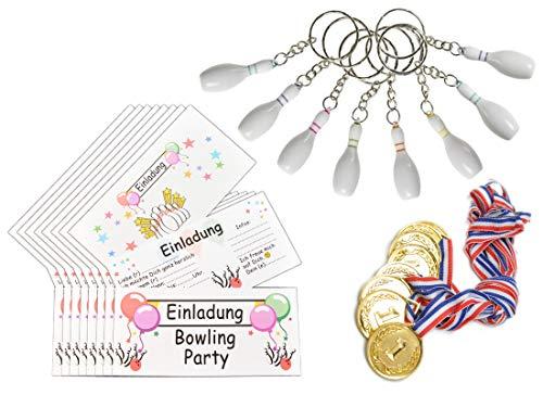 jameitop® Bowling Einladungen 8 Personen Set inkl. 8 Bowlingpins, 8 Medaille, 8 Umschlag