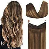 GOO GOO Human Hair Extensions Halo Extensions Balayage Chocolate Brown to Caramel Blonde 80g 16 Inch Invisible Wire Flip Hair Extensions Couture Hairpiece with Secrect Fish Line