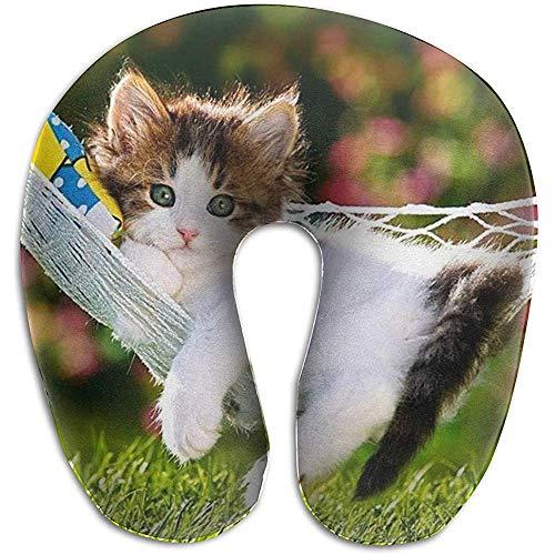 Happy Kitty Wallpapers Schiuma di Memoria a Forma di U per cuscino per Collo, cuscino per cuscino da viaggio Unico, traspirante morbido confortevole regolabile