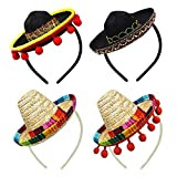 4 Pieces Mini Mexican Sombrero Hats Cute Straw Sombreros Mini Fun Fiesta Straw Hat for Fiesta Carnival Mexican Theme Party Decorations Party Favors