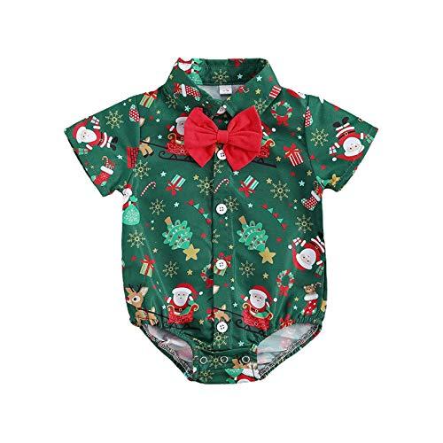 Christmas Outfit Infant Baby Boy Christmas Romper Bodysuit Jumpsuit Bowtie Dress Shirt Christmas Clothes