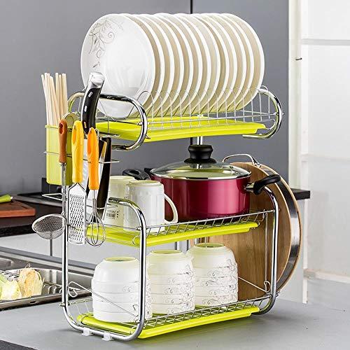 New 3 Tier Dish Drainer Drying Dish Rack Stainless Steel Kitchen Organizer RV Plate Storage Racks Holders,Germany
