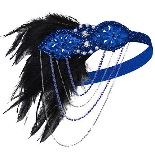 ArtiDeco Diadema de los años 20, accesorio para disfraz de Gatsby azul Talla única