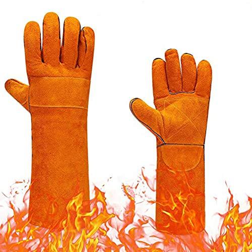 Guantes de trabajo de seguridad de cuero para hombres/mujeres, guantes resistentes al calor y al fuego, perfectos para chimenea, horno, parrilla, soldadura, soporte para ollas,manipulación de animales