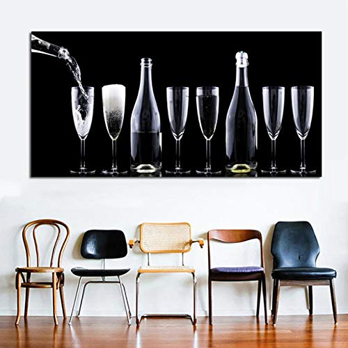 Lcgbw HD Gedrukt Rode Wijn Champagne Wijn Glas Schilderij Canvas Print Kamer Decor Print Poster Foto Canvas 60x120cm Doek