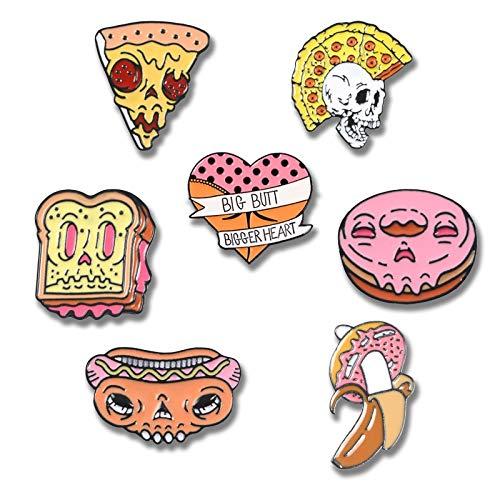 SHAOWU Böser Besitz Dessert Anstecknadeln Pink Donut Toast Pizza Emaille Pin und Broschen Herz Auto Abzeichen Denim Shirt Schmuck Geschenk Style7