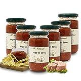 Carioni Food & Health Salsa casera de Tomate con atún - 190 gr (Paquete de 6 Piezas)
