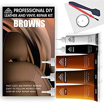 FORTIVO Leather Repair Kits for Couches Brown - Vinyl Repair Kit Leather Repair Kit Furniture Repair Kit - Leather Scratch Repair for Upholstery Couch Boat Car Seats - Leather Dye Brown
