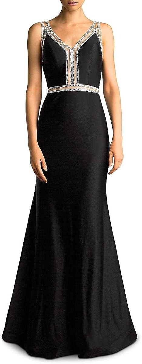 Basix Black Label Womens Embellished Trumpet Evening Dress Black 10