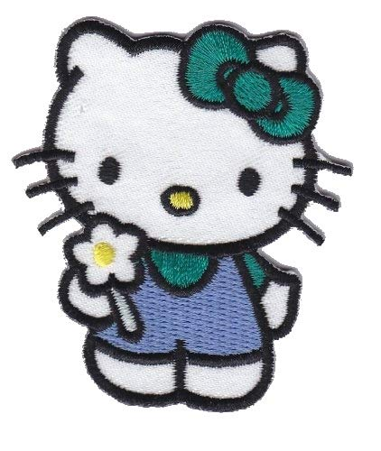 Hello Kitty Green Bow Iron on Sew on Embroidered Badge Applique Motif Patch From PatchWOW