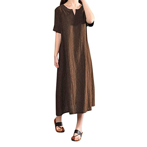 0724aab618 Women Plus Size Bohemia Casual Solid v-Neck Short Sleeve Cotton Linen Dress  Loose Pure