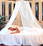 N7 White Elegant Round Top Bed Canopy (Mosquito Net) by Leisure Bargains