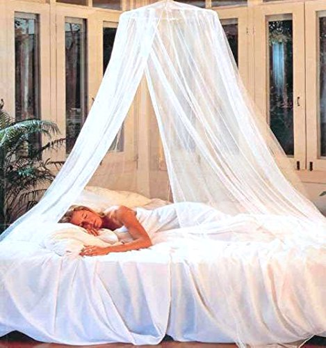N7 White Elegant Round Top Bed Canopy (Mosquito Net)