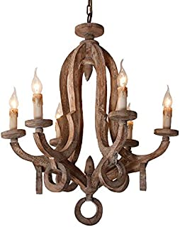 Rustic Cottage Chic Sculpted Wooden 6-Light Chandelier Ceiling Light Fixture with Candle Shaped Light