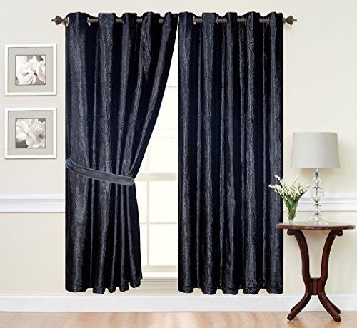 Designer gordijnen met ogen, fluweel, kant-en-klaar geconfectioneerd, 168 x 137 cm, zwart