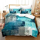 Turquoise Duvet Cover King Grey Art Artwork Contemporary Decorative Gray 100% Microfiber 3PCS Bedding Set with 2 Pillow Shames