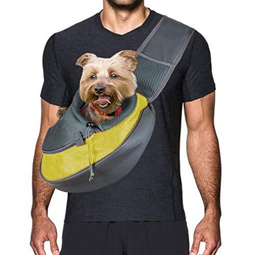 CHENGL Rucksacks Rucksack Hundekatze-Haustier, bewegliche im Freien Reise zu den Pet Taschen Hondas, Tasche Welpen-Katze, Hund Tasche, verstellbare Riemen, Breathable Ineinander greifen,Gelb