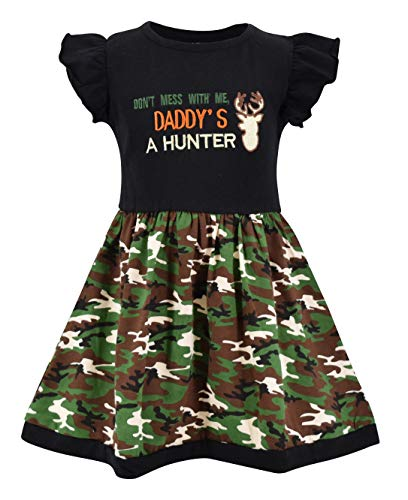 Unique Baby Girls My Dad Hunts Camo Print Hunting Fathers Day Dress Outfit (4T) Green