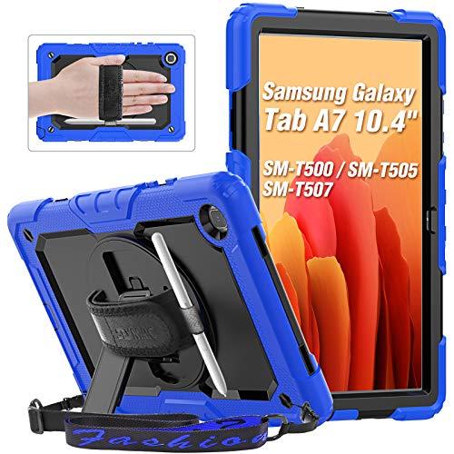 SEYMAC Galaxy Tab A7 2020 Hülle 10,4 Zoll (SM-T500 / T505), robuste Hochleistungshülle mit Bildschirmschutzfolie, um 360 Grad drehbarer Handschlaufe & Ständer, Stifthalter, Blau