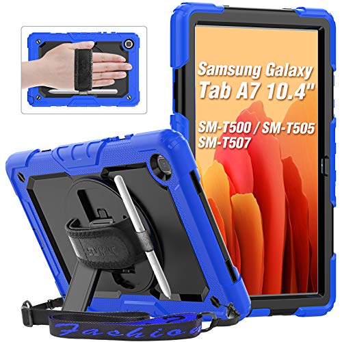 """SEYMAC Galaxy Tab A7 2020 Case 10.4"""" (SM-T500/T505), Heavy Duty Sturdy Case with Screen Protector, 360-degree Swivel Hand Strap & Stand, Pencil Holder, Shoulder Strap for Samsung Tab A7 Case Kids,Blue"""