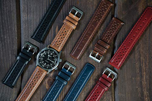 Barton Racing & Rally Horween Leather Straps with Integrated Quick Release Spring Bars – Standard Length fits Wrists 5″ to 8″-18mm, 19mm, 20mm, 21mm, 22mm, 23mm & 24mm Watch Bands – Choose Strap Color & Width