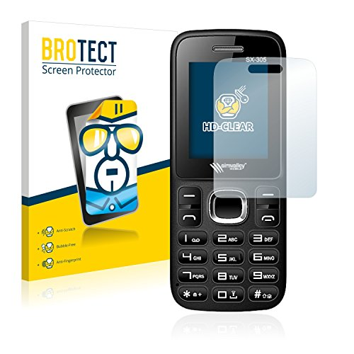 BROTECT Schutzfolie kompatibel mit Simvalley Mobile SX-305 (2 Stück) klare Bildschirmschutz-Folie