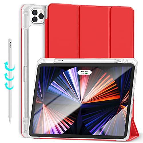 Gahwa Funda para iPad Pro 11 Pulgadas 2021& 2020 & 2018, Reverso Transparente Carcasa con Soporte Pencil, Ligera Case Cover con Modo Automático Reposo/Actividad - Rojo