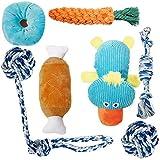 Toozey Juguetes para Perros Pequeños/Cachorros 7pcs - Juguete masticable de Cuerda de dentición para Cachorros y Juguete de Chirriador Peluche para Perros con Bolsa de lavandería