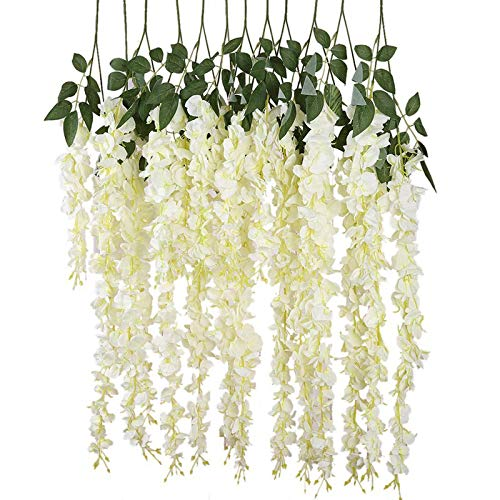 6 Pieces Artificial Silk Wisteria Vine Ratta Silk Hanging Flower Wedding Decor (White)
