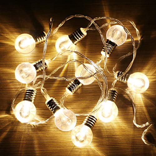 XIYUNTE LED Ball Fairy Lights Home Decor - 1.65M/6.5ft 10 LED Fairy Lights Double Bulb String Lights, Battery Powered String Lights Decorations for Halloween, Christmas, Bedroom, Patio, Garden, Party