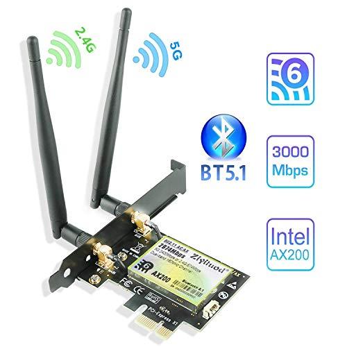 Ziyituod WiFi 6 AX200 Bluetooth5.1 Tarjeta PCIe WiFi | hasta 2402 Mbps | Chip Intel WiFi 6 AX200 | 5GHz / 2.4GHz, MU-MIMO, OFDMA, latencia ultrabaja | Solo para Windows 10 de 64 bits (ZYT-AX200)